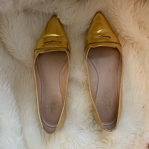 Kate Spade Gold Pointed Toe Loafers